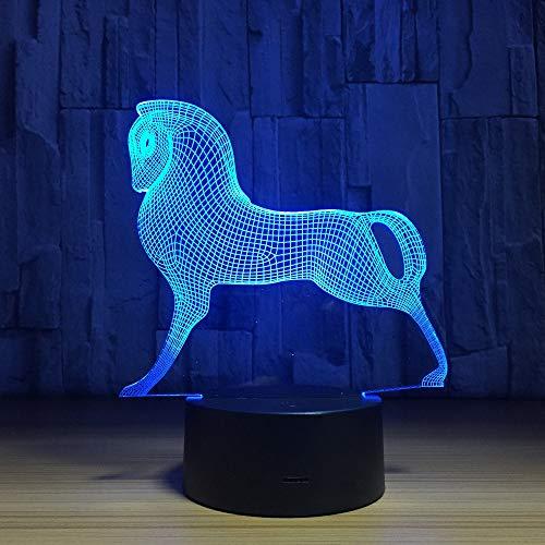 RMRM 7 couleur nuit lumière Mignon Coloré Poney Cheval Jouets Mon Petit Poney 3D Illusion Nuit Lumière Acrylique Nuit Lampe Bébé Enfants Sommeil Lampe cadeau