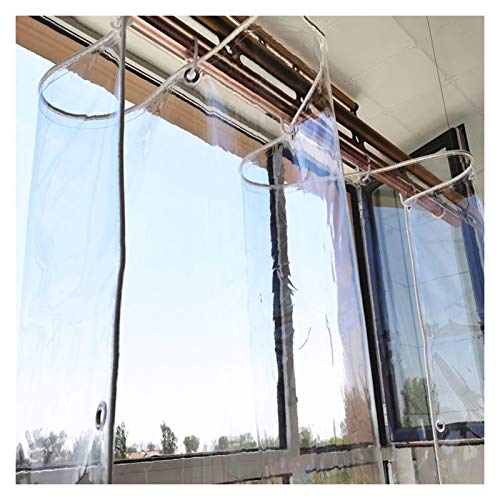 LIXIONG Clear Tarp, Heavy Duty PVC Waterproof Clear Tarpaulin for Pool Cars with Metal Grommets Transparent Tarp, 370 G/M², Custom Sizes (Color : Clear, Size : 1.2x1m)