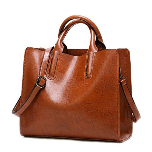 Bolsos para Mujer Bolsos Mujer Bolso Suave diseñador Mujer Bolsas bandoleras Bolso Hembra DF0013 marrón