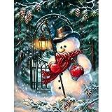 Bimkole 5D Kit de pintura de diamante muñeco de nieve invierno Noche de nieve, Taladro completo Arte Set de pintura con por número Kits de punto de cruz, decoración de pared para el hogar (30x 40cm)