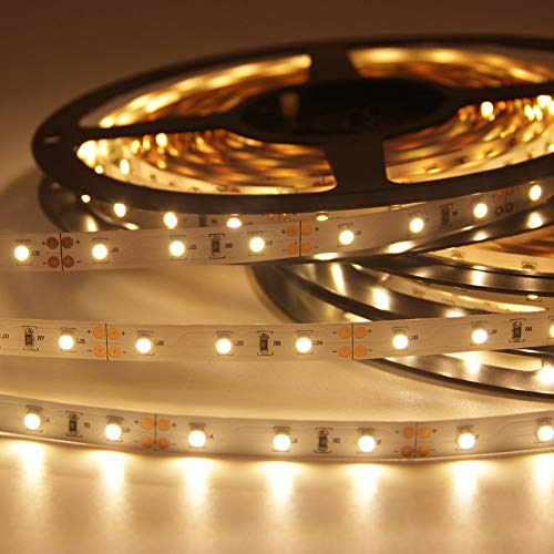Signcomplex Bande LED flexible 3528 SMD Ruban LED avec ruban autocollant 3M 5m une bobine 12V DC (Blanc chaud)