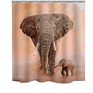 Luckey1 3D Fabric Shower Curtain Length 200cm Height 180cm? Bathroom Accessories Water Proot 3D Shower Curtain (Elephant Mother-Kid)
