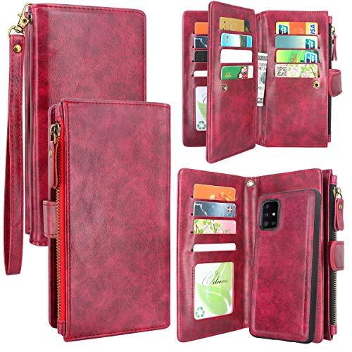 Harryshell Detachable Magnetic Zipper Wallet Leather Case Cash Pocket with 12 Card Slots Holder Wrist Strap for Samsung Galaxy A51 5G (SM-A516) (Not for A51 4G) (Wine Red)