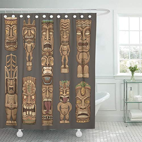 Abaysto Brown Mask Collection of Wooden Tiki Idols Beautiful...