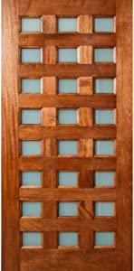 """ETO Doors Danum - Exterior Mahogany Wood Multi Lite Entry Door with Obscure White Laminate Glass (36"""" x 80"""" x 1-3/4"""" (24 Lite))"""