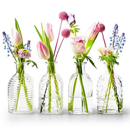 MIK Funshopping Dekoflaschen Vase Fläschchen Tisch-Väschen aus Glas Frida 13,5 x 6,5 cm (Klar, 4)