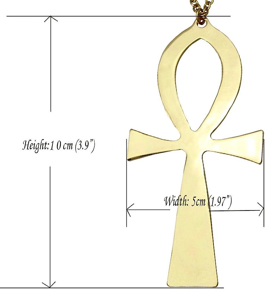 Q&Q Fashion Vintage Egyptian Cleopatra Symbol of Life Big Ankh Cross Pendant Long Chain Sweater Necklace,34