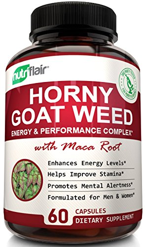 Extra Strength Horny Goat Weed Extract - Epimedium with Maca Root, Saw Palmetto - Men & Women Complex - Supports Libido, Passion, Drive, Desire, Energy, Focus, Performance, and Stamina