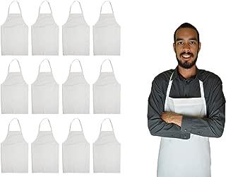 GREEN LIFESTYLE 12 Pack Bib Apron - Unisex Apron Bulk Machine Washable for Kitchen Crafting BBQ Drawing Outdoors (White)