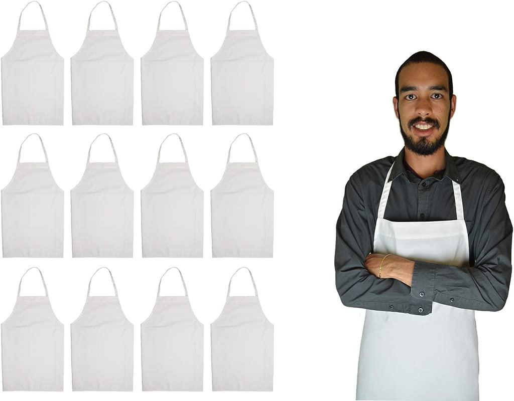 GREEN LIFESTYLE 12 Pack Bib Apron Unisex Apron Bulk Machine Washable For Kitchen Crafting BBQ Drawing Outdoors White