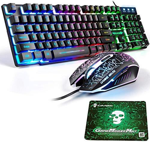 LexonElec T8 UK Layout Gaming-Tastatur und -Maus Sets Rainbow Backlit Ergonomische USB-Gaming-Tastatur + 2400 DPI 6 Tasten Optische Regenbogen-LED-USB-Gaming-Maus + KOSTENLOSE Gaming-Mauspads