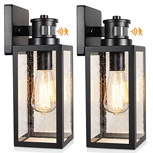 2Pack Motion Sensor Outdoor Wall Lanterns Upgrade Dusk to Dawn Wall Sconce Waterproof Porch Light Fixtures Wall Mount with Seeded Glass for Entryway Doorway Garage E26 Socket PIR Motion Activated