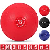 Weighted Slam Ball by Day 1 Fitness – 15 lbs RED - No Bounce Medicine Ball - Gym Equipment...