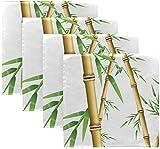 Set di 4 bambù foresta natura albero pianta verde con foglie staminali su tovaglioli di stoffa bianca tovaglioli da pranzo in poliestere lavabile 20 'x 20' per tavolo da pranzo festa di matrimoni