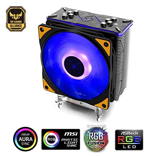 Deepcool Gammaxx GT TGA CPU-Kühler für Intel und Amd, 4 Heatpipes, 120 mm PWM RGB-Lüfter, AM4 und Ryzen, Schwarz