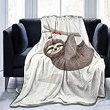 KNBNDB Manta Estampada de Perezosos con Setas, Ligera, súper Suave, de Microfibra, Mantas para sofá, Cama, habitación de 50x60 Pulgadas