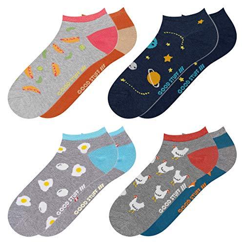 soxo Herren Bunte Sneaker Socken | Größe 40-45 | 4er Pack | Baumwolle Herrensocken mit Lustigen Motiven | Ideal für Flache Schuhe | Tolle Ergänzung für Ihre Garderobe