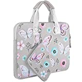 Laptop Sleeve 13 13.3 13.5 Inch Case for MacBook Air Pro 13'-13.3', Surface Laptop 13.5', Water Repellent Elastic Neoprene Notebooks Hand Bag with Handle and Small Case, Butterfly