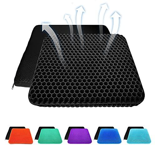 Cojín de asiento de gel grueso con funda antideslizante, transpirable, diseño de panal, absorbe los puntos de presión para coche, silla de oficina, silla de ruedas (negro)