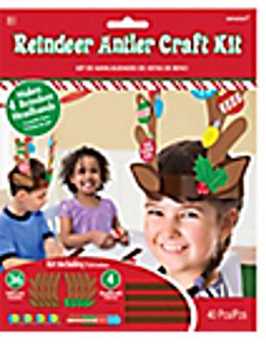 Christmas Reindeer Antler Holiday Craft Kit ~ Makes 4 Reindeer Headbands (40 Pieces) Red, Green