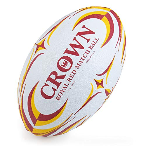 Crown Sporting Goods Royal Red Rugby Match Ball | Official Size 5 Premium, Textured Grip Ball | Great for Match, Practice, Scrimmage Play