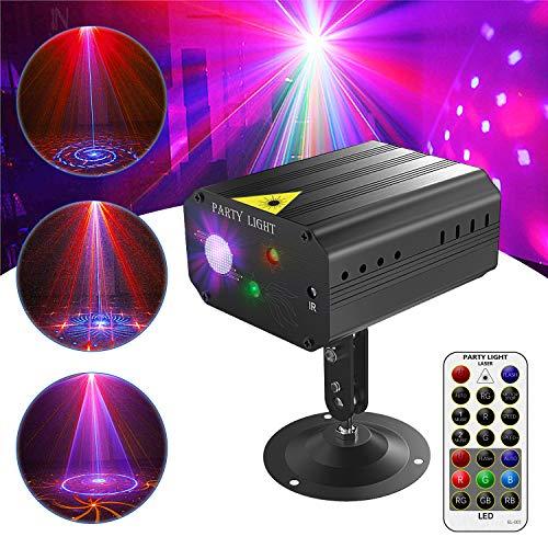 GVOO Discokugel,Gvoo Sound Aktivierte Party Light LED Bühnenprojektor 6 Farben 24 Muster mit Fernbedienung für Urlaub Party Kinder Geburtstag...