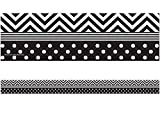 Teacher Created Resources 5543 Black and White Chevron and Dots Straight Border Trim