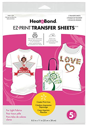 HeatnBond EZ Print Transfer Sheet for Light Fabrics, 5 Sheets, 8.5 Inches x 11 Inches