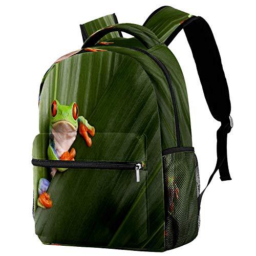Mochila de la rana de ojos rojos mochila de la escuela bolsa de libro mochila casual para viajes, estampado 5, Talla única, Mochila de a diario