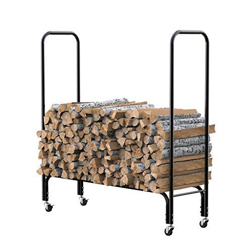 Finether Log Rack In Acciaio A 1,2M Alta Firewood Rack Con 4 Ruote, 150 Kg Capacità Di Carico Per Focolare, Camino, Stufa A Legna, Uso Interno Ed Esterno, Nero