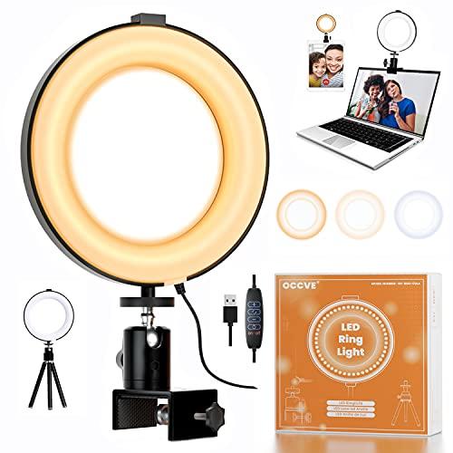 Aro de Luz LED con Trípode y Clip, USB Anillo de Luz, Luz Videoconferencia para Portatil con 3 Colores Modo y 10 Brillo Ajustable, Ring Light para Youtube, Vlog, Videoconferencia, Selfie y Maquillaje