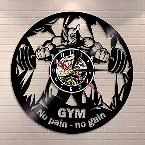 Gimnasio decoración vinilo récord reloj de pared levantamiento de pesas rusa retro fitness club reloj de pared Motivación bestia silenciosa reloj de pared