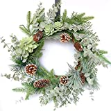 idyllic 22 Inches Greenery Wreath Snowy Pine Cone Grapevine Wreath Artificial Winter Garlands for Front Door Indoor Wall Decor for Home Office Decoration with Floral Swags and Pine Branches