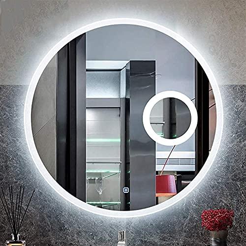 WFY Espejo de tocador de baño con luz de Vidrio de Vidrio de baño de Pared Redondo sin Marco Claro con Interruptor táctil Inteligente