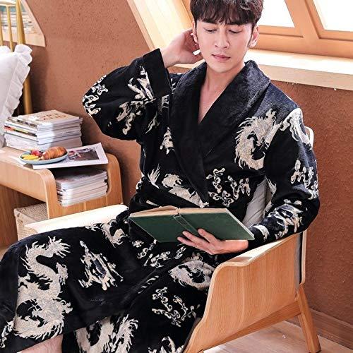 YPDM badjas, 2019 nieuwe mannen plus grootte draken badjas herfst winter flanel huis Robe Mannen Kimono zachte warme ochtendjas