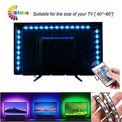 VIPMOON LED TV Backlight Strip Lights, 2M/6.56ft 5V 5050 60SMD/M RGB Black Board Lamp Bar TV Back Lighting Kit with 1M 24key 16 Colors USB Remote Controller