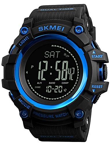 XYJ Reloj al Aire Libre para Hombre con Reloj Compass Altímetro Barómetro Termómetro Termómetro Pedómetro Reloj Militar Ejército Impermeable Aire Libre Sport Reloj Digital para Hombres