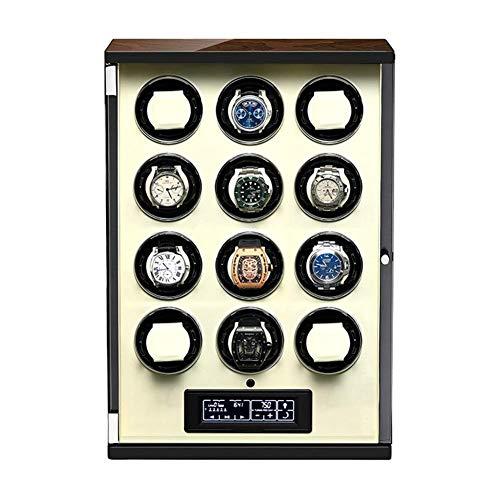 XIUWOUG Caja giratoria automática para relojes con panel táctil y pantalla con mando a distancia, almohadilla ajustable para reloj (color: blanco, tamaño: 12+0)