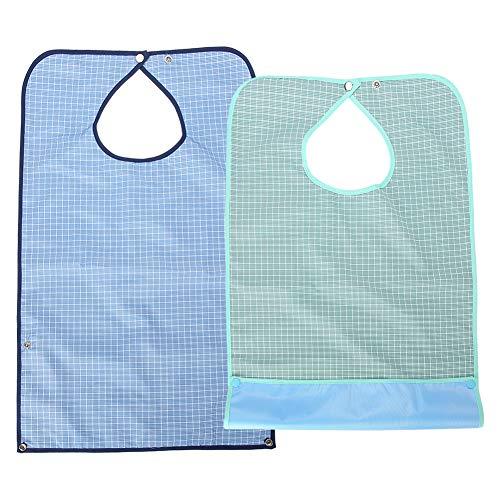 Baberos impermeables para adultos para proteger la ropa de comedor para personas mayores de doble capa con babero impermeable impermeable para comida, babero impermeable para adultos