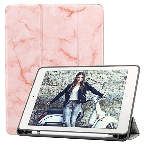 Billionn iPad 9.7 2018 Case with Apple Pencil Holder [Auto Wake/Sleep] for Apple iPad 9.7 2018/2017/ Air 2/ Air/Pro 9.7 2016, Marble Pink