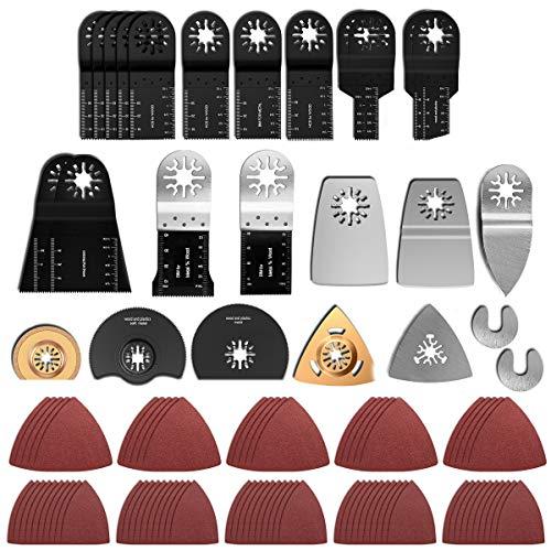 120 tlg Oszillierendes Sägeblätter Kit Multitool Mix Klingen Oszillierwerkzeug Set Multifunktionswerkzeug Zubehör für Einhell Multimaster Dremel Bosch