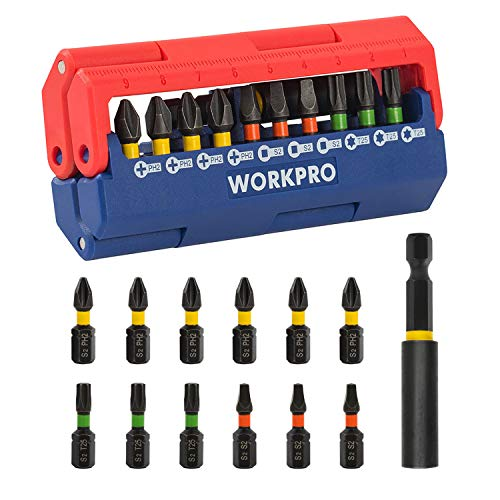 WORKPRO Impact Driver Bit Set, 13-piece, Preminum S2 Made, Includes PH2, S2, T25, Magnetic Extension Bit Holder with Pressed Magnetic Case