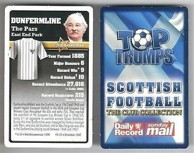 TOP TRUMPS Scottish Football Club collection card Dunfermline Athletic The PARS
