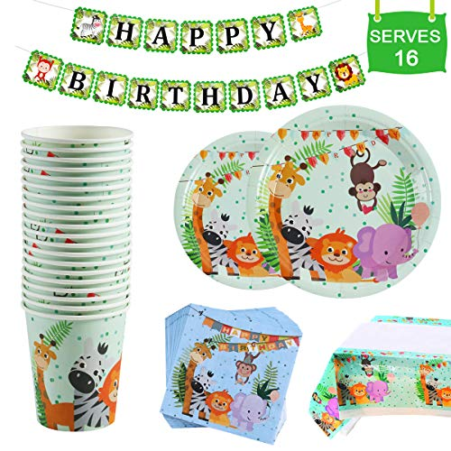 Safari Animal Birthday Party Supplies - Serves 16 - Plates, Napkins, Cups Tableware Kit, One Animal Print Tablecloth, Birthday Banner for Birthday Parties, Jungle Theme Party Supplies by QIFU