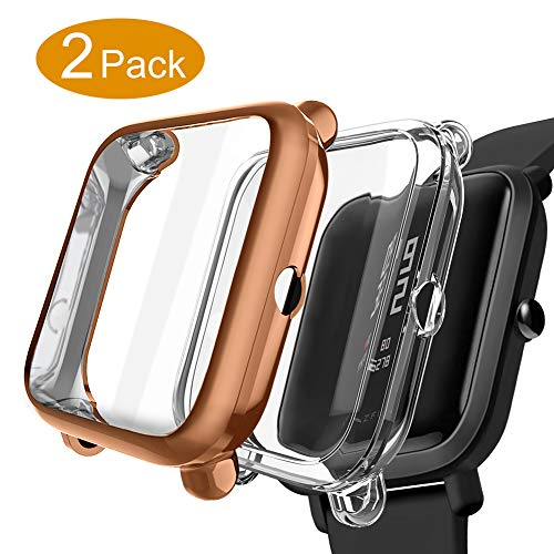 Kmasic Compatible Bip Case,2-Pack TPU Plated Screen Protector Rugged Cover [Scratch-Proof] All-Around Protective Compatible Bip Smartwatch (Transparent + Rose Gold 2 Pack)