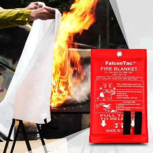 FalconTac [4-Pack] Fire Blanket Size X-Large 47''x47'' Fire Suppression Emergency Blanket w/ Heat Resistant Gloves w/ Reflective Strap for Kitchen, Camping, Grilling
