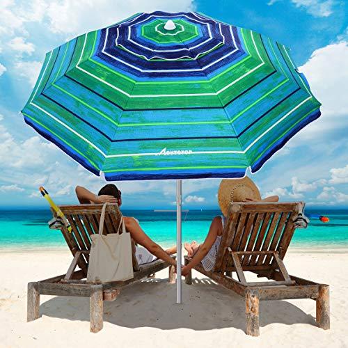 MOVTOTOP Beach Umbrella, 6.5ft Beach Umbrella with Sand Anchor & Tilt Mechanism, Portable UV 50+ Protection Beach Umbrella with Carry Bag for Patio Garden Beach Outdoor (Dark Green Stripe)