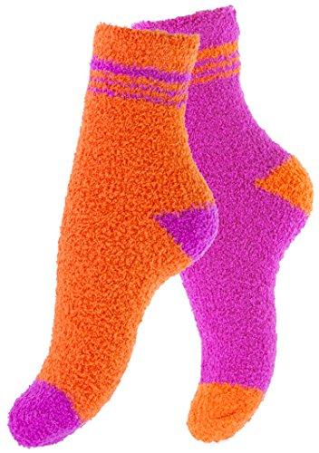 Vincent Creation Lot de 4 paires de chaussettes ultra-douces - femme - couleurs unies ou rayures,Taille unique,Orange-Violet / Orange avec Rayures, (35/40)
