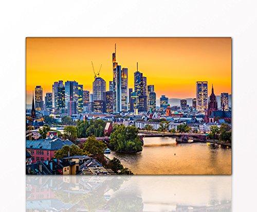 Berger Designs - Stadtbild Frankfurt 80x120 cm auf Leinwand und Holzkeilrahmen - Beste Qualität, handgefertigt in Deutschland