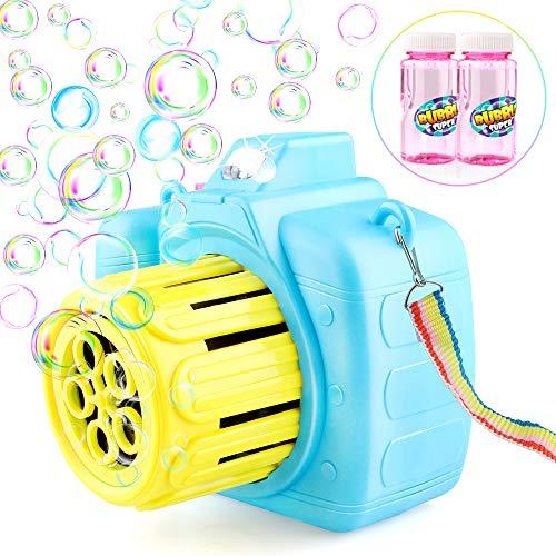 Baztoy Automatisch Seifenblasenmaschine Kinderspielzeug mit 2 Flaschen Blasenlösung für Kinder Baby Jungen Mädchen, Bubble Machine Maker für Party Hochzeit Drinnen Draußen Garten Spiele Geschenk